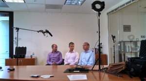 From left to right, Brian Greenberg, Michael B. Horn, and Rob Schwartz film the opening video of the blended learning MOOC. Photo by Anna Gu, Research Assistant at the Clayton Christensen Institute.