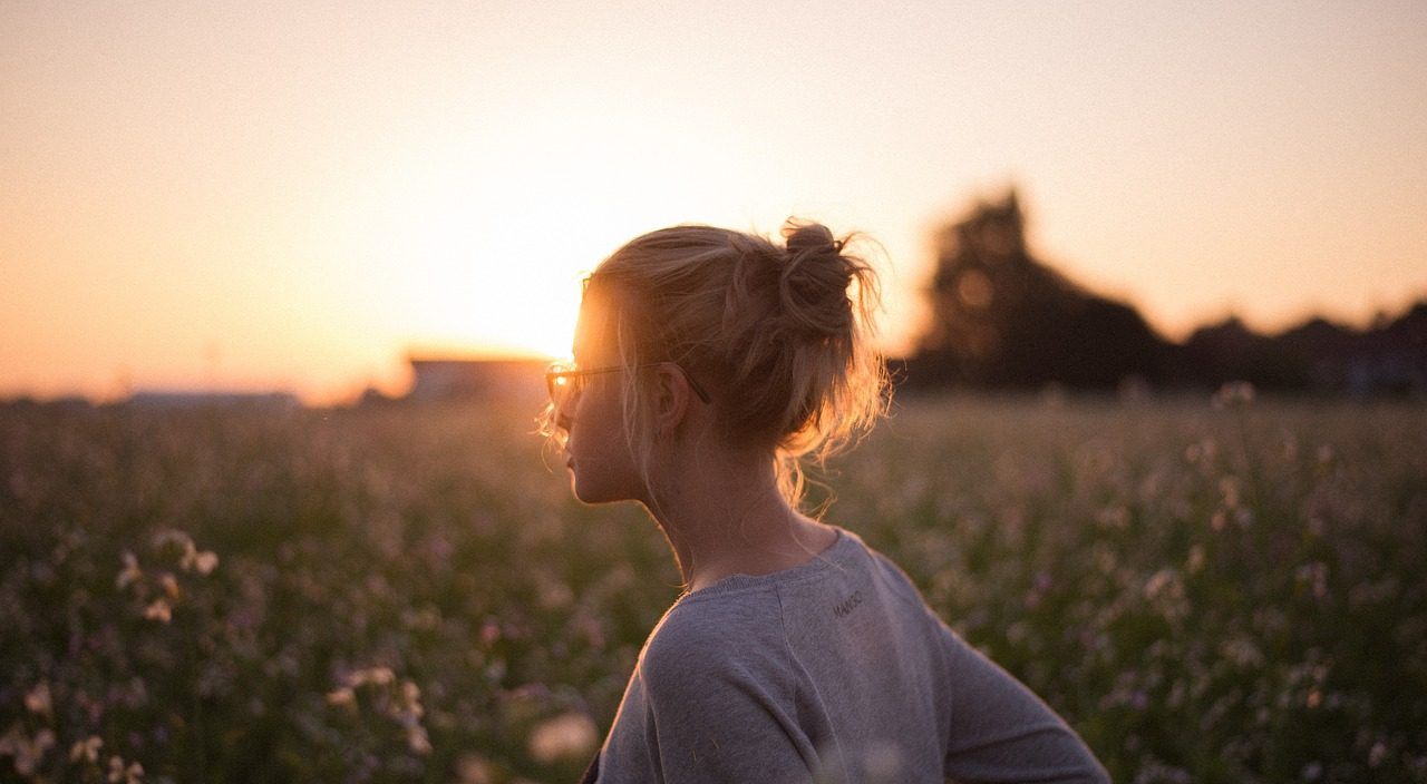 sunset glasses girl field